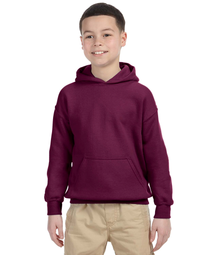 Maroon Youth 8 oz. Heavy Blend 50/50 Hood as seen from the front