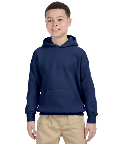 Navy Youth 8 oz. Heavy Blend 50/50 Hood as seen from the front
