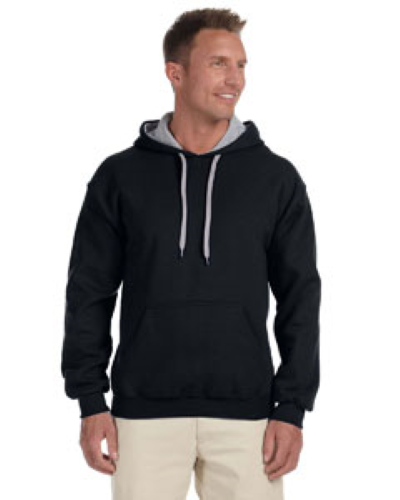 Black Sport Grey 8 oz. Heavy Blend 50/50 Contrast Hood as seen from the front