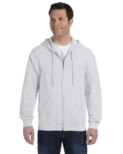 Ash 8 oz. Heavy Blend 50/50 Full-Zip Hood as seen from the front