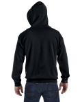 Black 8 oz. Heavy Blend 50/50 Full-Zip Hood as seen from the back