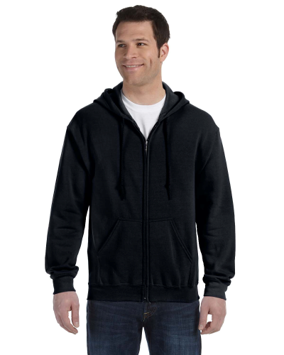 Black 8 oz. Heavy Blend 50/50 Full-Zip Hood as seen from the front