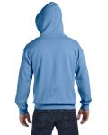 Carolina Blue 8 oz. Heavy Blend 50/50 Full-Zip Hood as seen from the back