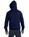 Navy 8 oz. Heavy Blend 50/50 Full-Zip Hood as seen from the back