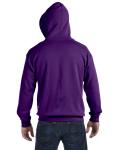 Purple 8 oz. Heavy Blend 50/50 Full-Zip Hood as seen from the back