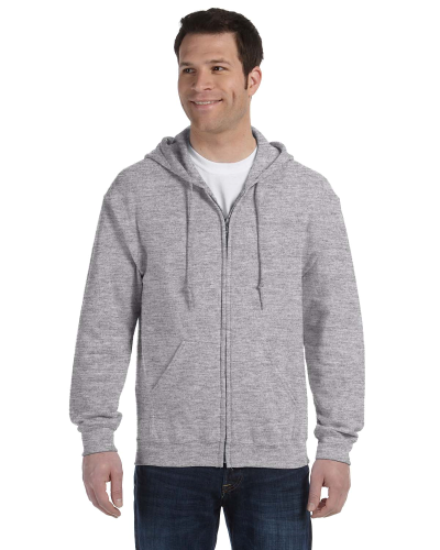 Sport Grey 8 oz. Heavy Blend 50/50 Full-Zip Hood as seen from the front