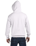 White 8 oz. Heavy Blend 50/50 Full-Zip Hood as seen from the back