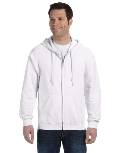 White 8 oz. Heavy Blend 50/50 Full-Zip Hood as seen from the front