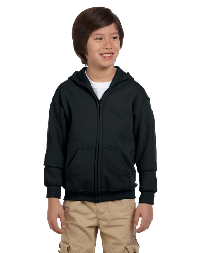 Black Youth 8 oz. Heavy Blend 50/50 Full-Zip Hood as seen from the front