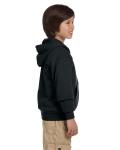 Black Youth 8 oz. Heavy Blend 50/50 Full-Zip Hood as seen from the sleeveleft