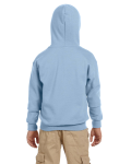 Light Blue Youth 8 oz. Heavy Blend 50/50 Full-Zip Hood as seen from the back