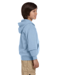 Light Blue Youth 8 oz. Heavy Blend 50/50 Full-Zip Hood as seen from the sleeveleft
