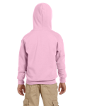 Light Pink Youth 8 oz. Heavy Blend 50/50 Full-Zip Hood as seen from the back
