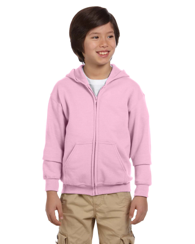Light Pink Youth 8 oz. Heavy Blend 50/50 Full-Zip Hood as seen from the front