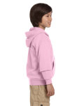 Light Pink Youth 8 oz. Heavy Blend 50/50 Full-Zip Hood as seen from the sleeveleft