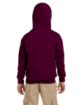 Maroon Youth 8 oz. Heavy Blend 50/50 Full-Zip Hood as seen from the back