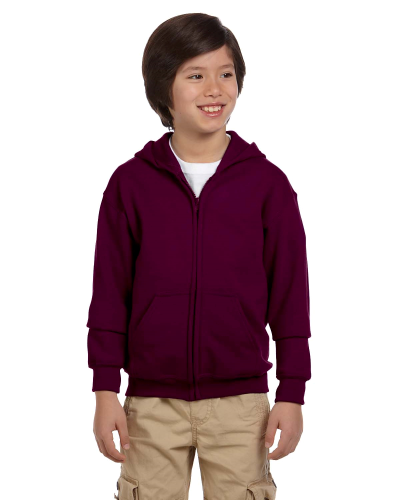 Maroon Youth 8 oz. Heavy Blend 50/50 Full-Zip Hood as seen from the front