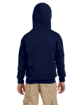 Navy Youth 8 oz. Heavy Blend 50/50 Full-Zip Hood as seen from the back