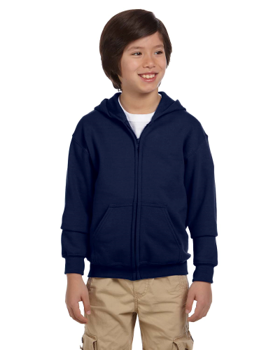 Navy Youth 8 oz. Heavy Blend 50/50 Full-Zip Hood as seen from the front