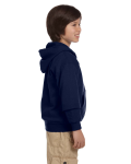 Navy Youth 8 oz. Heavy Blend 50/50 Full-Zip Hood as seen from the sleeveleft