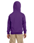 Purple Youth 8 oz. Heavy Blend 50/50 Full-Zip Hood as seen from the back