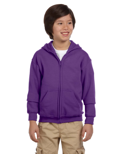 Purple Youth 8 oz. Heavy Blend 50/50 Full-Zip Hood as seen from the front
