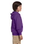 Purple Youth 8 oz. Heavy Blend 50/50 Full-Zip Hood as seen from the sleeveleft