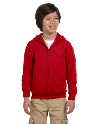 Red Youth 8 oz. Heavy Blend 50/50 Full-Zip Hood as seen from the front