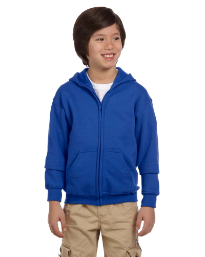 Royal Youth 8 oz. Heavy Blend 50/50 Full-Zip Hood as seen from the front