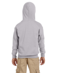 Sport Grey Youth 8 oz. Heavy Blend 50/50 Full-Zip Hood as seen from the back