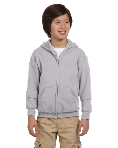 Sport Grey Youth 8 oz. Heavy Blend 50/50 Full-Zip Hood as seen from the front