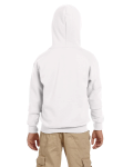 White Youth 8 oz. Heavy Blend 50/50 Full-Zip Hood as seen from the back