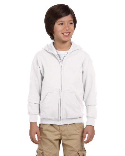 White Youth 8 oz. Heavy Blend 50/50 Full-Zip Hood as seen from the front