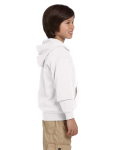 White Youth 8 oz. Heavy Blend 50/50 Full-Zip Hood as seen from the sleeveleft