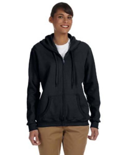 Black Heavy Blend™ Ladies' 8 oz., 50/50 Full-Zip Hood as seen from the front
