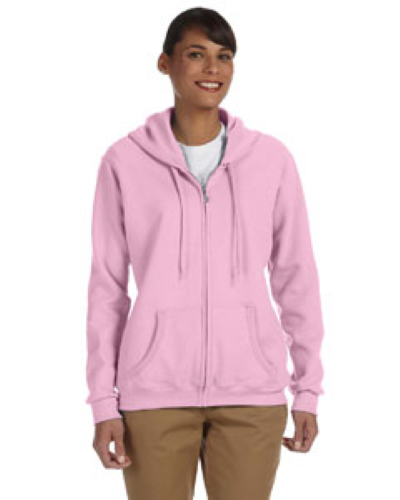 Light Pink Heavy Blend™ Ladies' 8 oz., 50/50 Full-Zip Hood as seen from the front