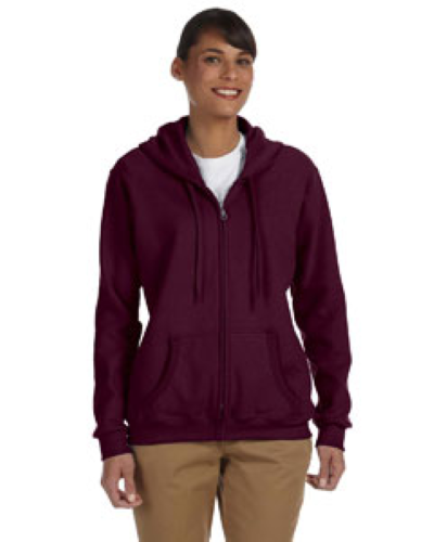 Maroon Heavy Blend™ Ladies' 8 oz., 50/50 Full-Zip Hood as seen from the front