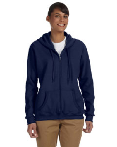 Navy Heavy Blend™ Ladies' 8 oz., 50/50 Full-Zip Hood as seen from the front