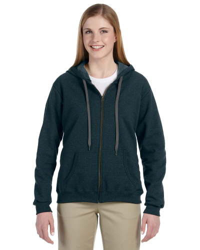 Midnight Heavy Blend™ Ladies' 8 oz. Vintage Classic Missy Fit Full-Zip Hood as seen from the front
