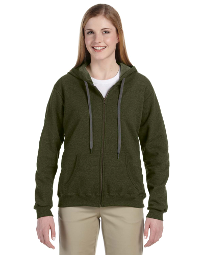 Moss Heavy Blend™ Ladies' 8 oz. Vintage Classic Missy Fit Full-Zip Hood as seen from the front