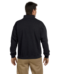 Black Heavy Blend™ 8 oz. Vintage Classic Quarter-Zip Cadet Collar Sweatshirt as seen from the back