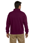 Maroon Heavy Blend™ 8 oz. Vintage Classic Quarter-Zip Cadet Collar Sweatshirt as seen from the back