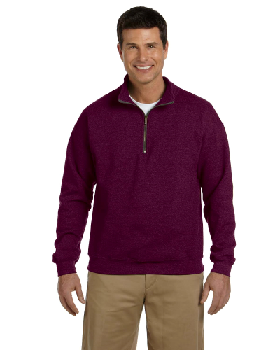 Maroon Heavy Blend™ 8 oz. Vintage Classic Quarter-Zip Cadet Collar Sweatshirt as seen from the front
