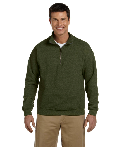 Moss Heavy Blend™ 8 oz. Vintage Classic Quarter-Zip Cadet Collar Sweatshirt as seen from the front