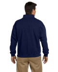Navy Heavy Blend™ 8 oz. Vintage Classic Quarter-Zip Cadet Collar Sweatshirt as seen from the back