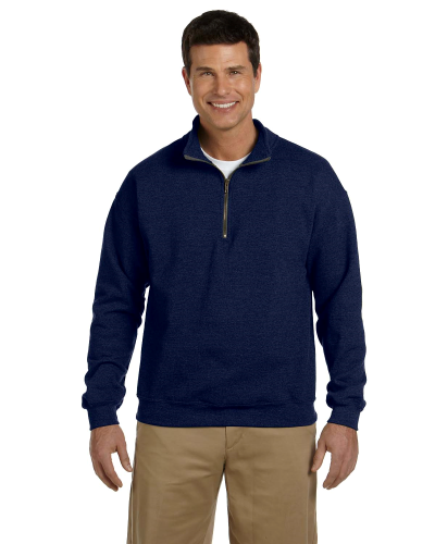 Navy Heavy Blend™ 8 oz. Vintage Classic Quarter-Zip Cadet Collar Sweatshirt as seen from the front