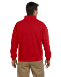 Red Heavy Blend™ 8 oz. Vintage Classic Quarter-Zip Cadet Collar Sweatshirt as seen from the back