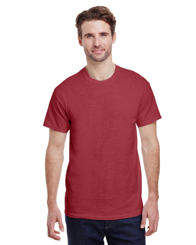 Heather Cardinal Premium Ultra Cotton T as seen from the front