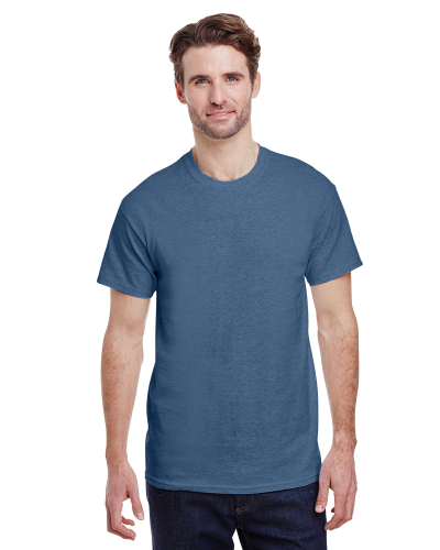 Heather Indigo Premium Ultra Cotton T as seen from the front