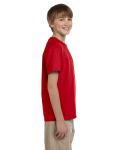Cherry Red Youth Premium Ultra Cotton T as seen from the sleeveleft